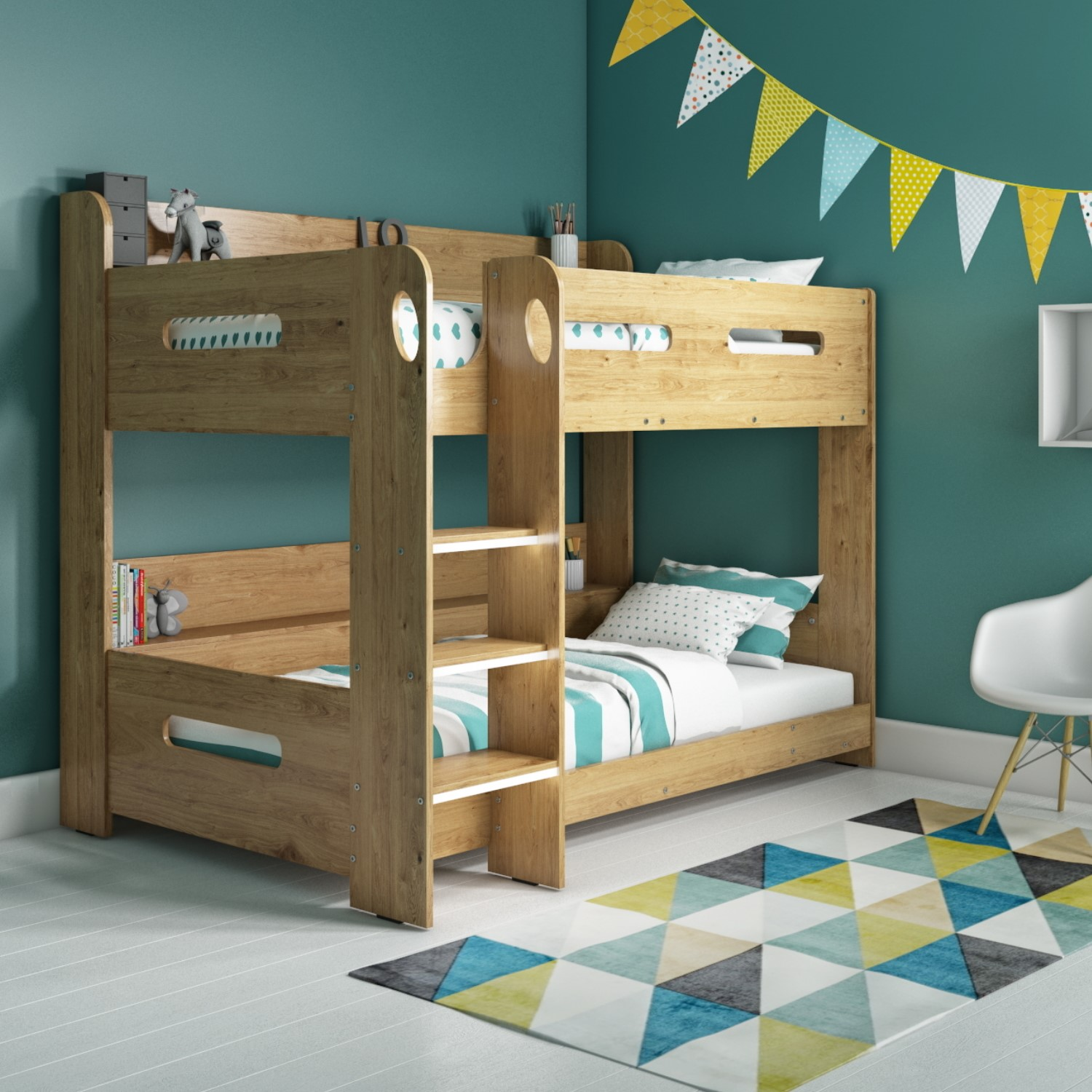 modern kids oak bunk bed storage shelves 5060388566913 ebay. Black Bedroom Furniture Sets. Home Design Ideas