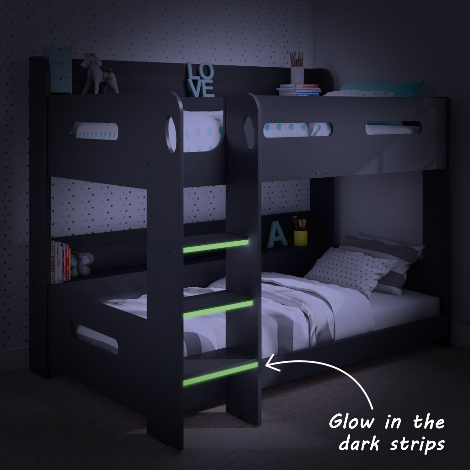 Grey Bunk Bed With Storage Ladder Can Be Fitted Either Side