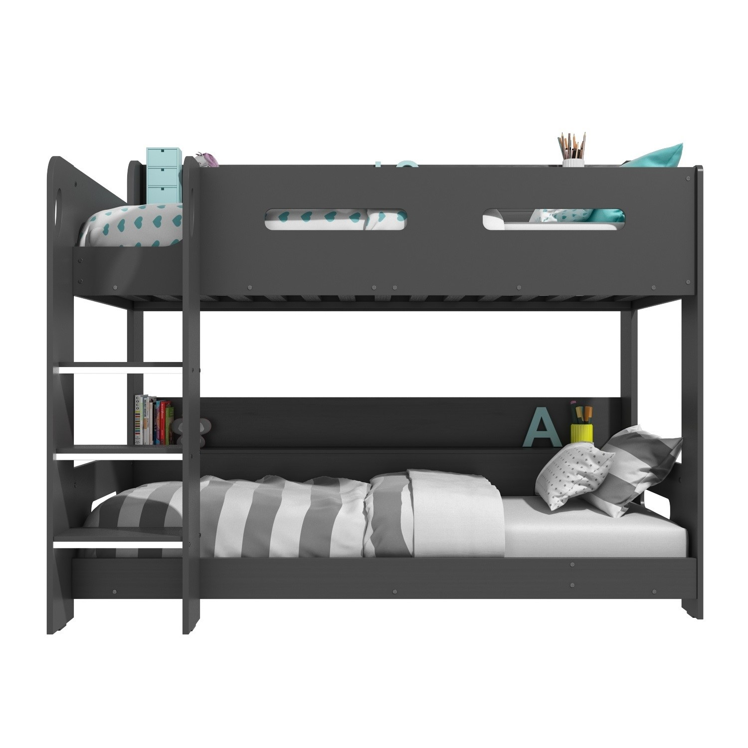 Grade A1 Sky Bunk Bed In Dark Grey Ladder Can Be Fitted E