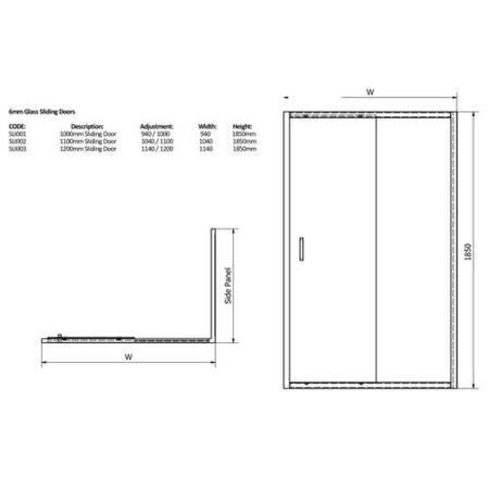 Claritas 6mm Glass Sliding Shower Door - 1200 x 1850mm