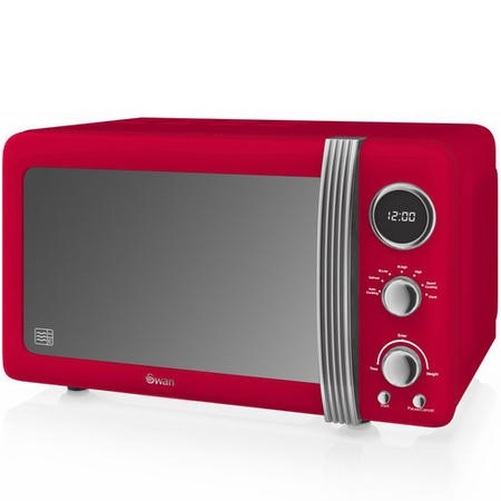Swan SM22030RN Retro-style 20L 800W Freestanding Digital Microwave in Red