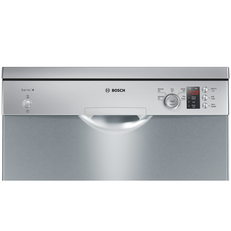 Bosch 12 Place SMS50C28GB Freestanding Dishwasher in silver inox