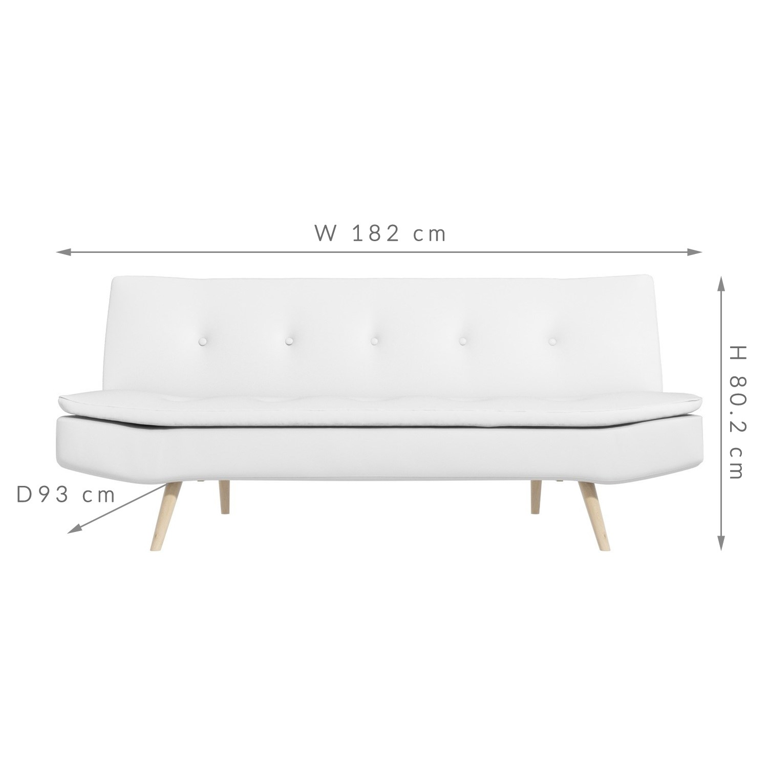 New White Modern Faux Leather Click Clack 2 Seater Sofa