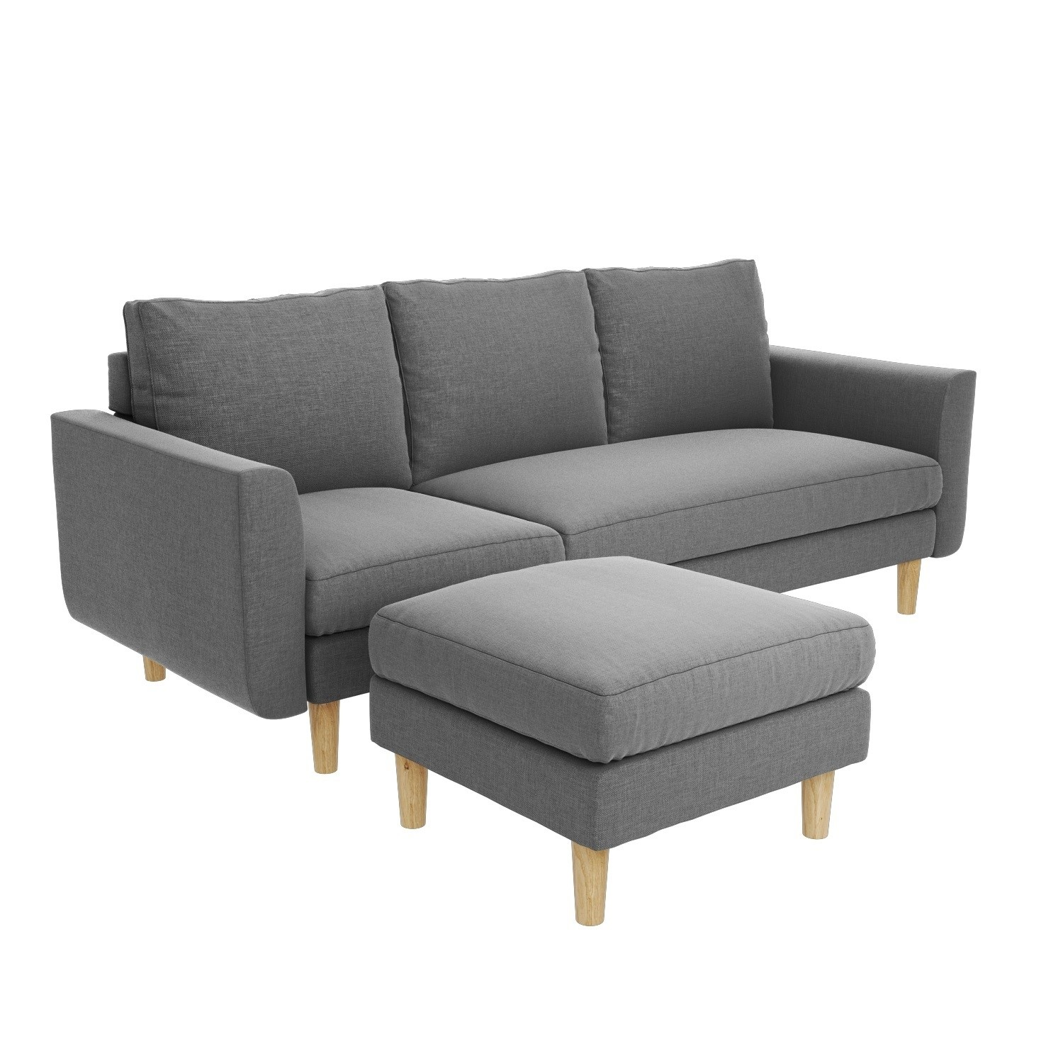 Details about Fabric Corner Chaise Sofa Small 3 Seater Modern Light Grey