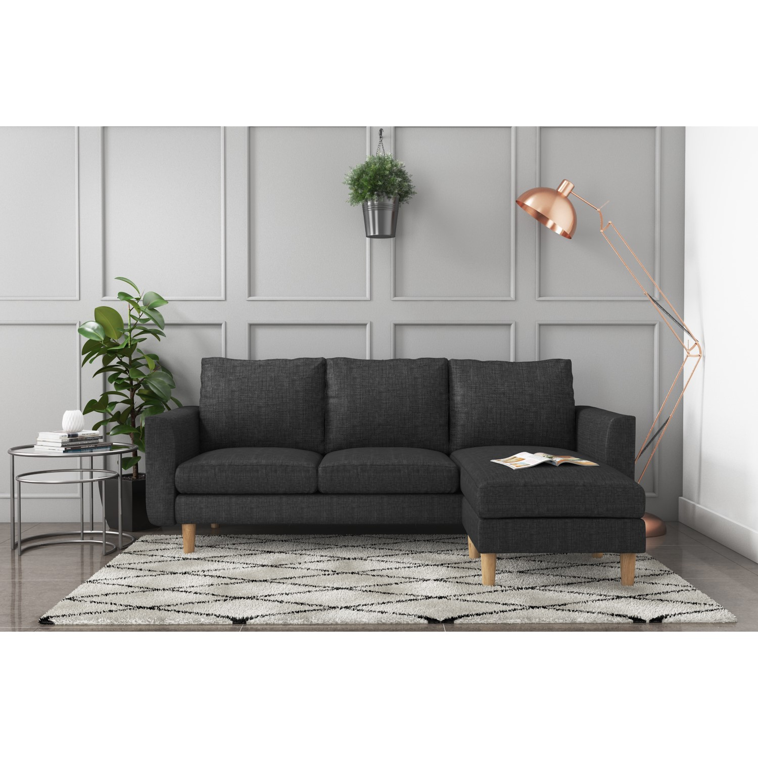 Fabric Corner Chaise Sofa Small 3 Seater Modern Charcoal