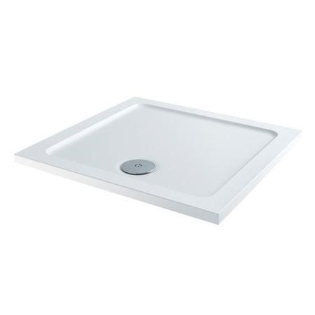 Claristone White Square Shower Tray & Waste - 800 x 800mm