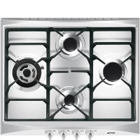 Smeg SR264XGH2 Cucina 60cm Stainless Steel 4 Burner Gas Hob with New Style Controls Best Price, Cheapest Prices