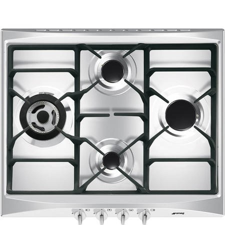 Smeg SR264XGH2 Cucina 60cm Stainless Steel 4 Burner Gas Hob with New Style Controls