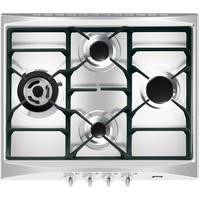 Smeg SR264XGH Cucina 60cm Stainless Steel 4 Burner Gas Hob with New Style Controls