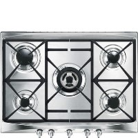 Smeg SR275XGH2 Cucina 69cm Stainless Steel 5 Burner Gas Hob with Cast Iron Pan Stands and New Style Controls