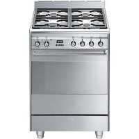 Smeg Concert 60cm Dual Fuel Cooker with Pyrolytic Cleaning - Stainless Steel