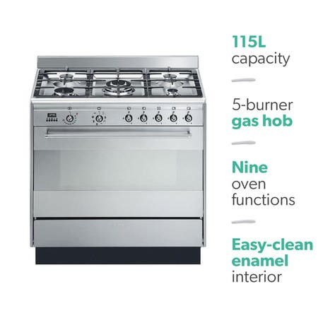 Smeg SUK91MFX9 Concert 90cm Stainless Steel Single Cavity Dual Fuel Range Cooker