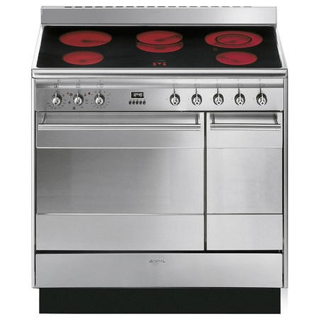 Smeg SUK92CMX9 Concert Double Oven 90cm Electric Range Cooker With Ceramic Hob - Stainless Steel