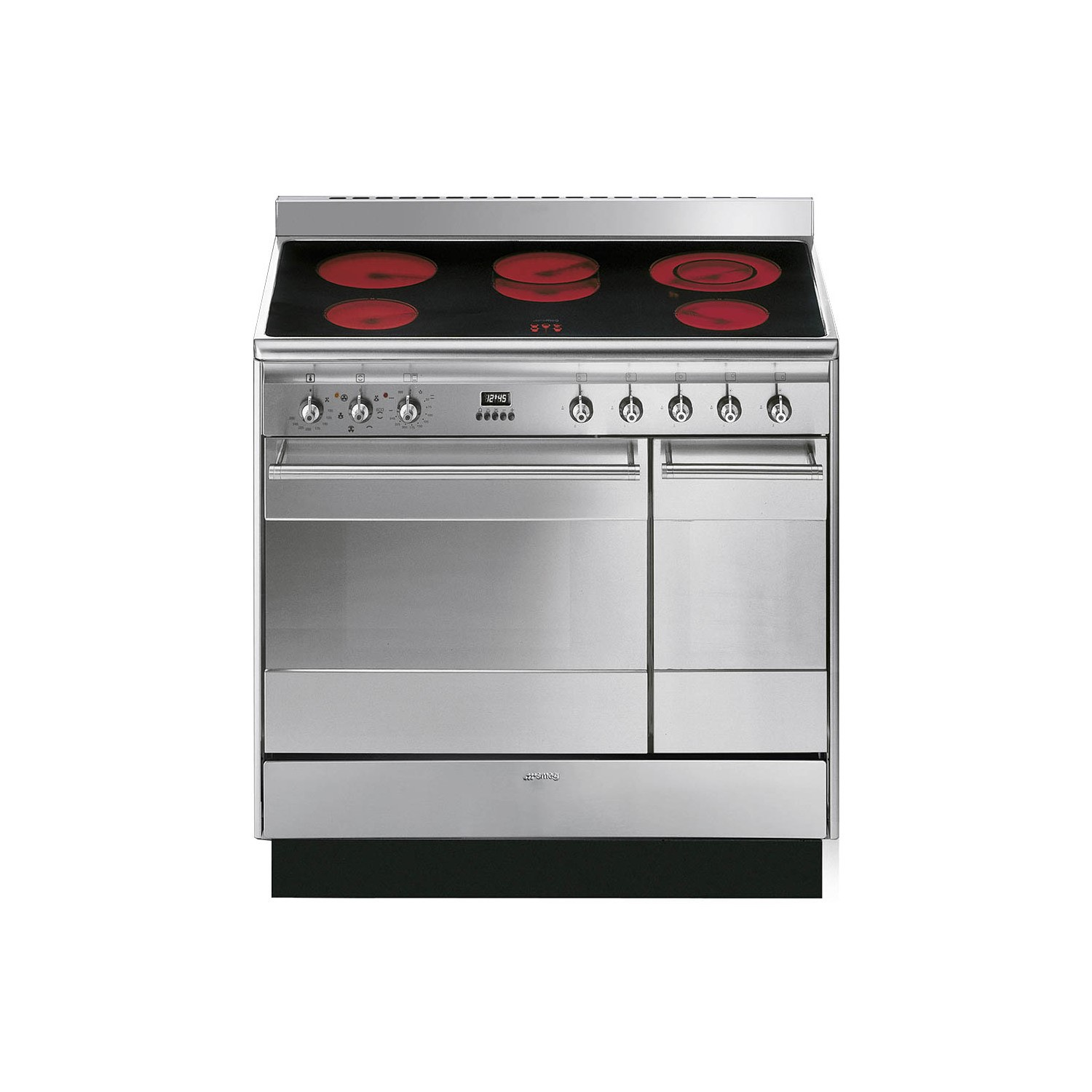smeg suk92cmx9 concert double oven 90cm electric range cooker with ceramic hob stainless steel