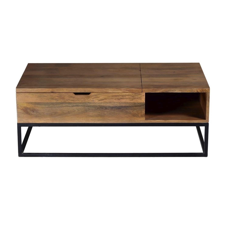 Suri industrial modern coffee table with storage in mango wood metal de sur005