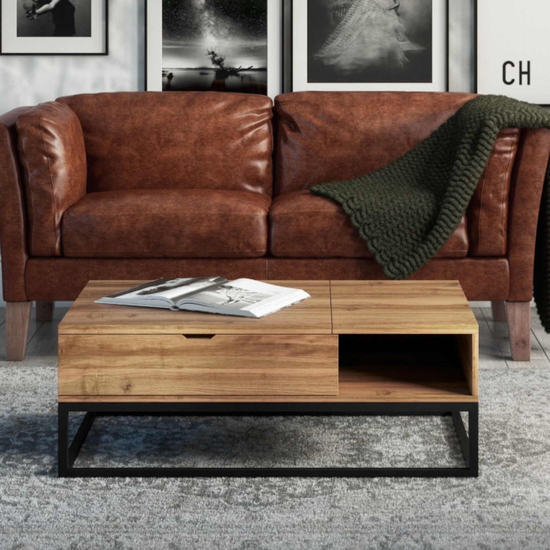 d1cf893561cae Suri Industrial Modern Coffee Table with Storage in Mango Wood   Metal De  SUR005