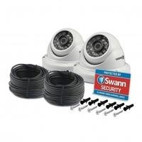 Box Open Swann PRO-A856 - 1080p Multi-Purpose Day/Night Dome Security Camera - Night Vision 100ft 30m 2 Pack 18m Cable