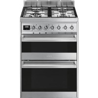 Smeg SY62MX9 Symphony 60cm Double Oven Dual Fuel Cooker - Stainless Steel