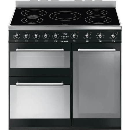 Smeg SY93IBL Symphony Triple Cavity 90cm Electric Range Cooker With Induction Hob Black