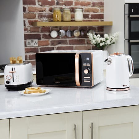 Tower T24020W 20L 800W Freestanding Microwave - Rose Gold And White