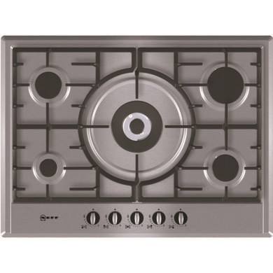 T25S56N0GB Neff T25S56N0GB Series 1 Five Burner 70cm Gas Hob - Stainless Steel