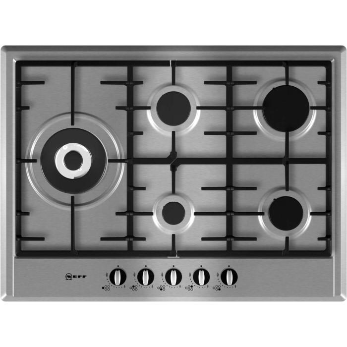 neff t25s76n0 series 1 five burner 70cm gas hob in stainless steel appliances direct. Black Bedroom Furniture Sets. Home Design Ideas