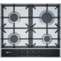 Neff T26DA49N0 59cm Four Zone Gas Hob Stainless Steel With Cast Iron Pan Stands
