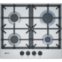 Neff T26DS49N0 N70 59cm Four Zone Gas Hob Stainless Steel With Cast Iron Pan Stands
