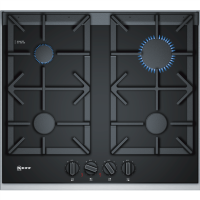 Neff T26TA49N0 61cm Four Zone Gas-on-glass Hob Black With Cast Iron Pan Stands