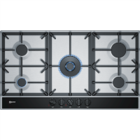 Neff T29DA69N0 N70 90cm Five Burner Gas Hob Stainless Steel With Cast Iron Pan Stands