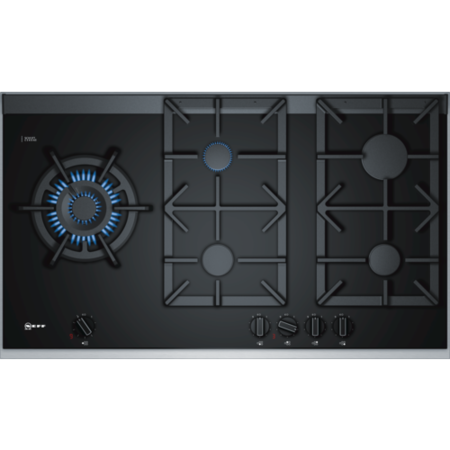 Neff T29TA79N0 90cm Five Burner Gas-on-glass Hob Black With Cast Iron Pan Stands