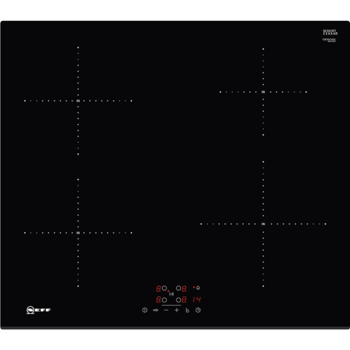 neff t36fb41x0g touch control 60cm four zone induction hob black with bevelled front edge. Black Bedroom Furniture Sets. Home Design Ideas