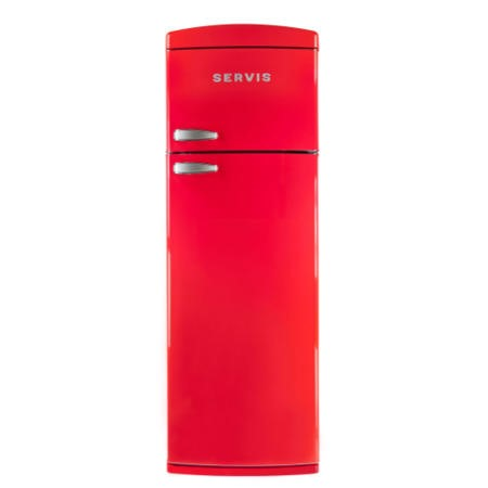 Servis T60170R Freestanding Retro Top Mount Fridge Freezer Red