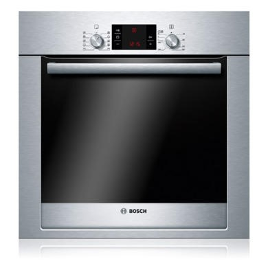 GRADE A1  - Bosch Exxcel Pyrolytic Single Oven Brushed Steel Metal-capped Pop-out Controls And Touch