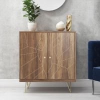 Solid Wood TV Unit with Brass Inlay - Tahlia Range