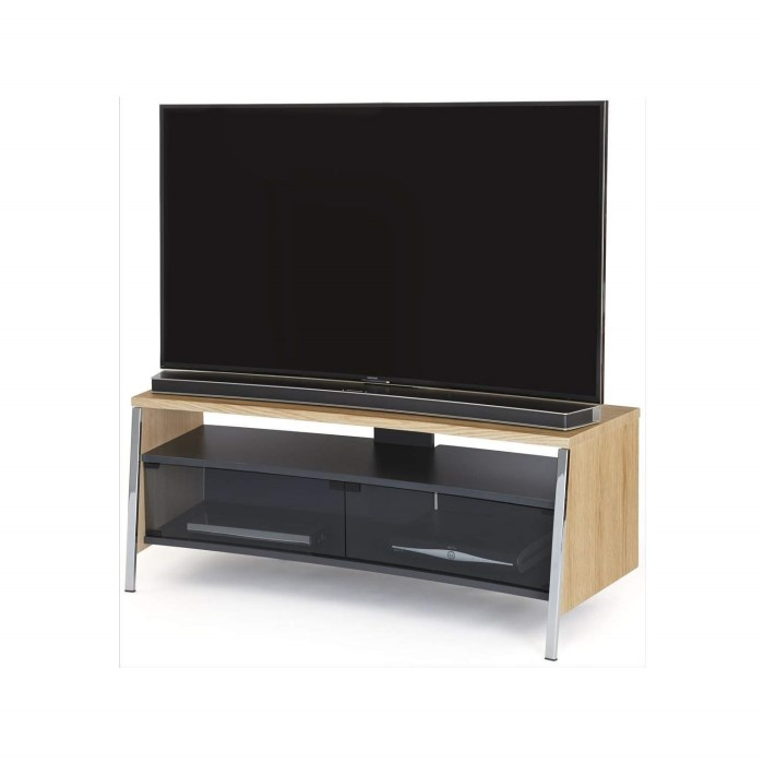 Off The Wall Curved 1300 Light Wood Tv Cabinet Up To 55 Inch Tan