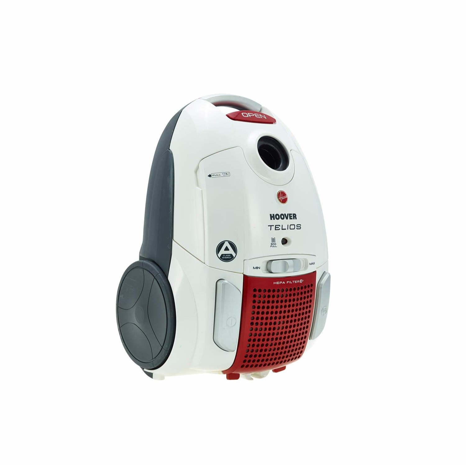 White and Red 700 W Hoover Telios Bagged Cylinder Vacuum Cleaner 3.2 L