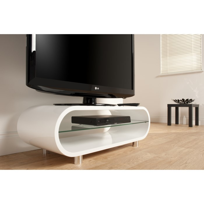 Techlink Ovid Ov95 White Tv Stand Up To 50 Inch Techov95w