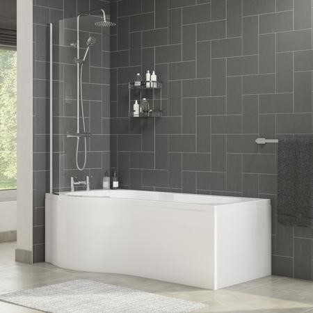 Palham Left Hand P Shape Bath with Side Panel & Shower Screen - 1500 x 700mm