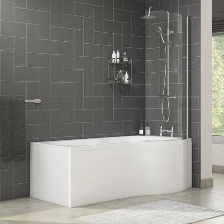 Palham Right Hand P Shape Bath with Side Panel & Shower Screen - 1500 x 700mm