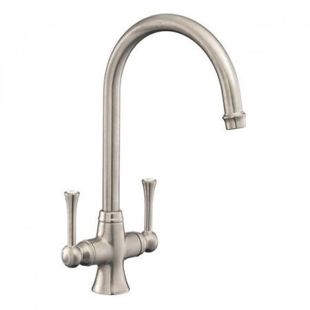 Rangemaster Estuary Dual Lever Kitchen Tap - Brushed Nickel