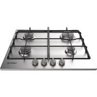 Indesit THA642IX Aria 59cm Four Burner Gas Hob With Enamel Pan Stands - Stainless Steel