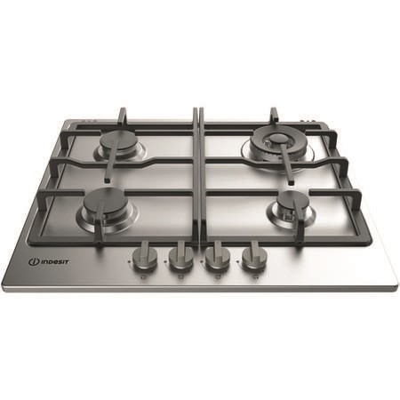 INDESIT THP641WIXI 59cm Four Burner Gas Hob With Cast Iron Pan Stands - Stainless Steel