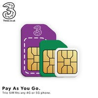 Three Pay As You Go Sim Card Trio