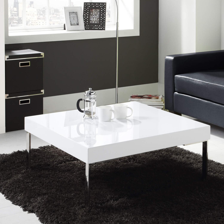 High Gloss Square White Coffee Table - Tiffany Range TIFF002A