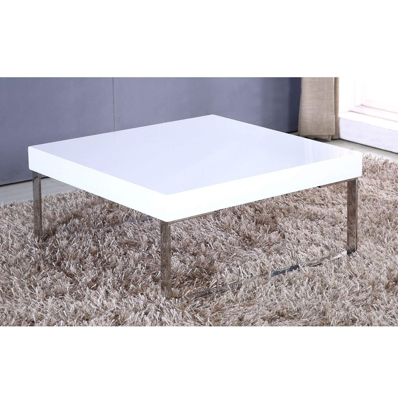 High Gloss Square White Coffee Table – Tiffany Range TIFF002A