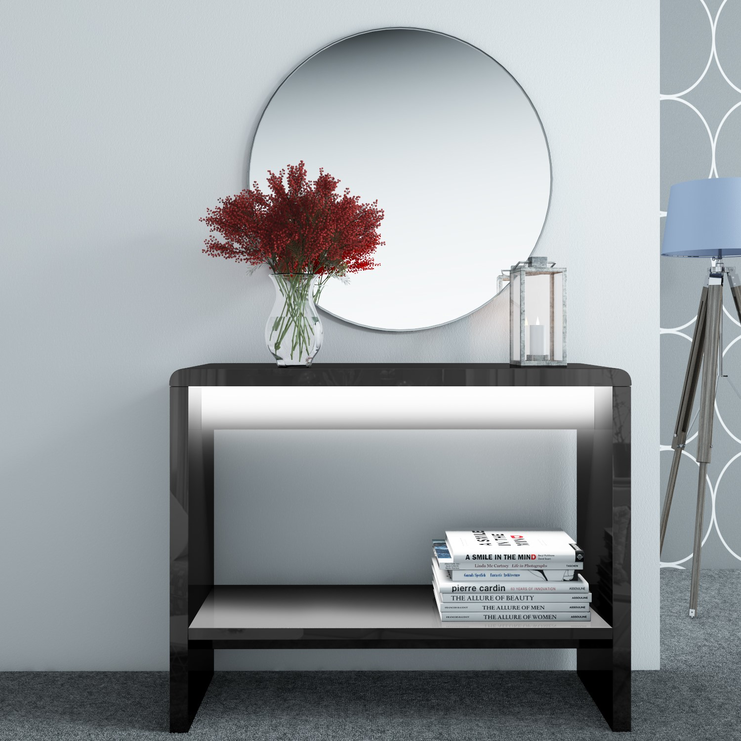 high console table. Image Is Loading New-Modern-Black-High-Gloss-LED-Console-Table High Console Table E