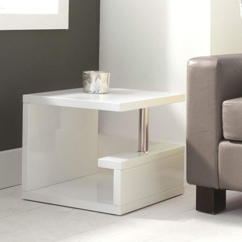 Artemis High Gloss White Side Table Tiff011 5060388562045