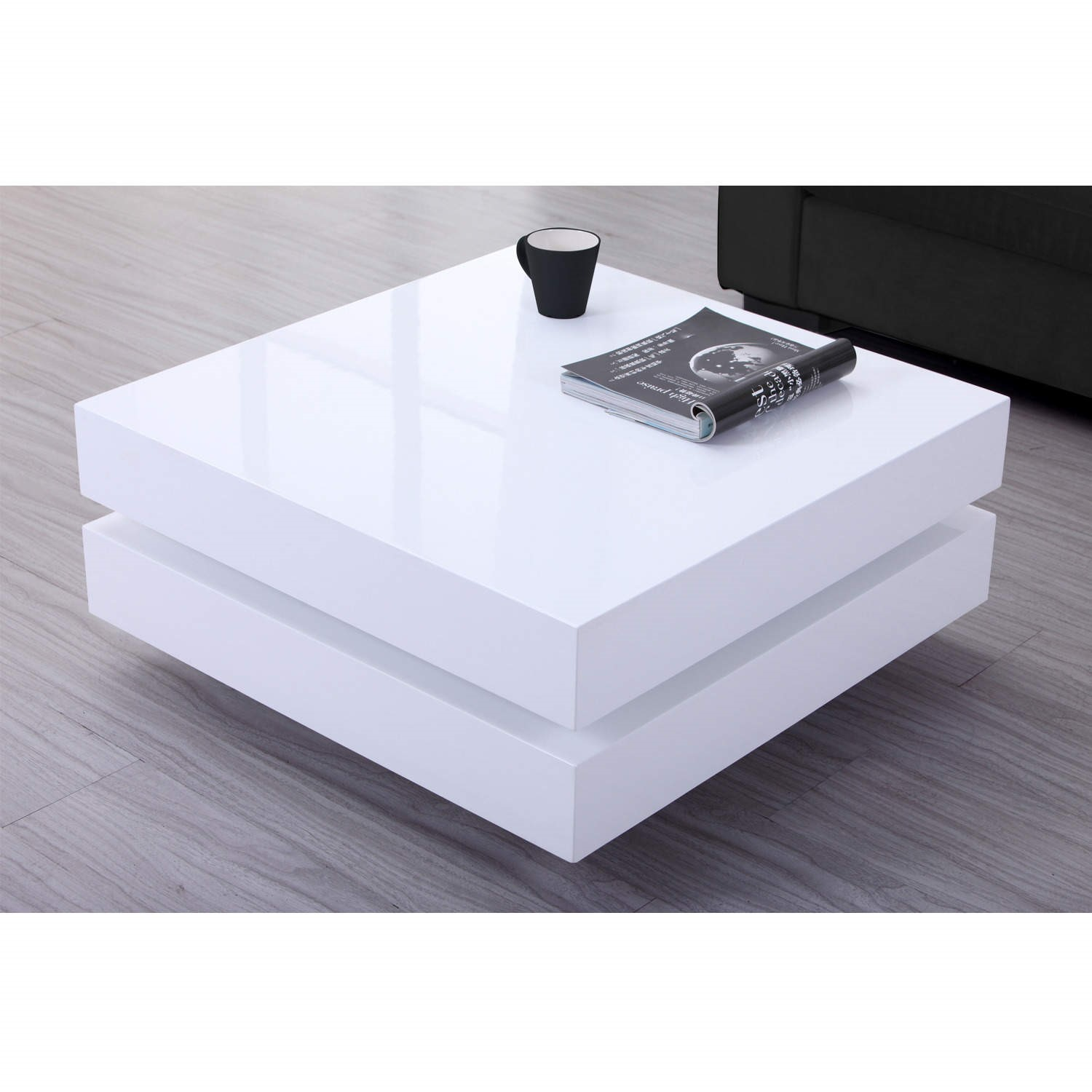 Annika White Gloss Coffee Table: High Gloss White Coffee Table With LED Lighting