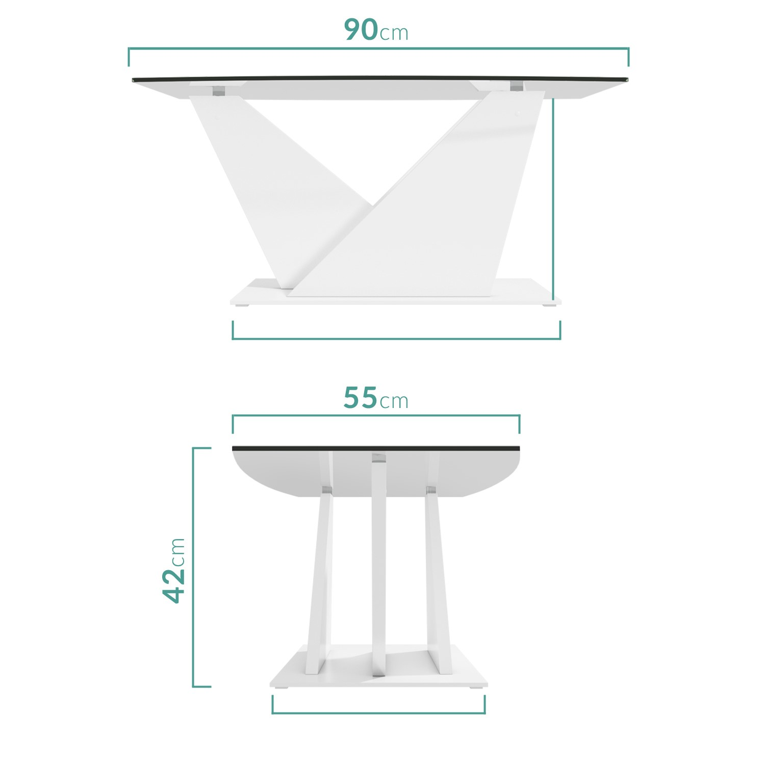 Glass Coffee Table With White High Gloss Stand